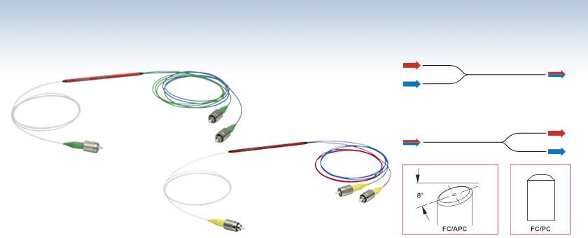 可視域 近赤外域、2波長用シングルモード波長分割多重 Wdm カプラ 785 Nm