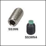 M3 x 0.5止めネジ、ステンレススチール製または合金銅製