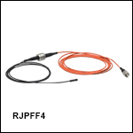 ロータリージョイント付きファイバーパッチケーブル、Ø400 µmファイバ&Ø2.5 mmフェルール、熱収縮チューブ