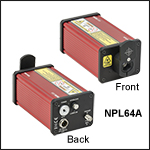 パルスレーザ、パルス幅:10 ns固定、パルスエネルギ:0.12 nJ