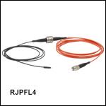 ロータリージョイント付きファイバーパッチケーブル、Ø400 µmファイバ&Ø1.25 mmフェルール、熱収縮チューブ