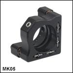 ミニシリーズキネマティックミラーマウント、Ø12.5 mm~Ø12.7 mm(Ø1/2インチ)光学素子用