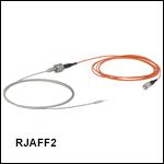 ロータリージョイント付きファイバーパッチケーブル、Ø200 µmファイバ&Ø2.5 mmフェルール、ステンレス製チューブ