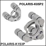 Ø12.7 mm(Ø1/2インチ)、Ø25.4 mm(Ø1インチ)、Ø50.8 mm(Ø2インチ)Polaris<sup>®</sup>キネマティックミラーマウント、ピエゾアジャスタ付き