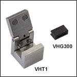 ファイバ移動用クランプとV溝付きグラファイトチップ(VHFシリーズ移動用底部インサートに必要)