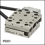 20 mm直線移動ステージ、ピエゾ慣性アクチュエータおよび光学的エンコーダ付き