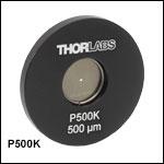 ピンホール、ステンレススチール製ホイル、Ø25.4 mm(Ø1インチ)マウント付き