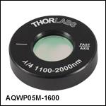 Ø12.7 mm(Ø1/2インチ)アクロマティック1/4波長板、Ø25.4 mm(Ø1インチ)マウント付き