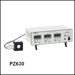 ピエゾアジャスタ付きØ25 mm~Ø25.4 mm(Ø1インチ)キネマティックミラーマウントとピエゾコントローラのセット