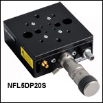 1軸フレクシャーステージ、移動量5 mm、手動型および手動-ピエゾハイブリッド型