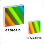 刻線回折格子、ブレーズ波長1 µm