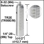 Ø12.7 mmステンレススチール製ポスト、目盛付き