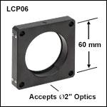 60 mmケージプレート、2重穴構造、Ø50 mm~Ø50.8 mm(Ø2インチ)光学素子用