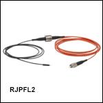 ロータリージョイント付きファイバーパッチケーブル、Ø200 µmファイバ&Ø1.25 mmフェルール、熱収縮チューブ