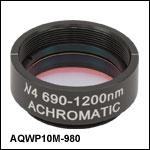 Ø25.4 mm(Ø1インチ)アクロマティック1/4波長板、SM1マウント付き