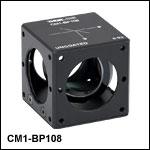 キューブマウント付きペリクルビームスプリッタ、コーティング無し(400~2400 nm)、分岐比(R:T) 8:92