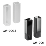 UV溶融石英キュベット、キャップ付き、2面研磨