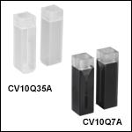 UV溶融石英キュベット、気密栓付き、2面研磨