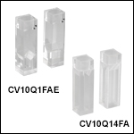 UV溶融石英キュベット、気密栓付き、4面研磨