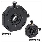XYZ移動マウント、Ø12 mm~Ø12.7 mm(Ø1/2インチ)およびØ25 mm~Ø25.4 mm(Ø1インチ)光学素子用