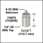 Ø12.7 mmポスト、六角のトップ付き