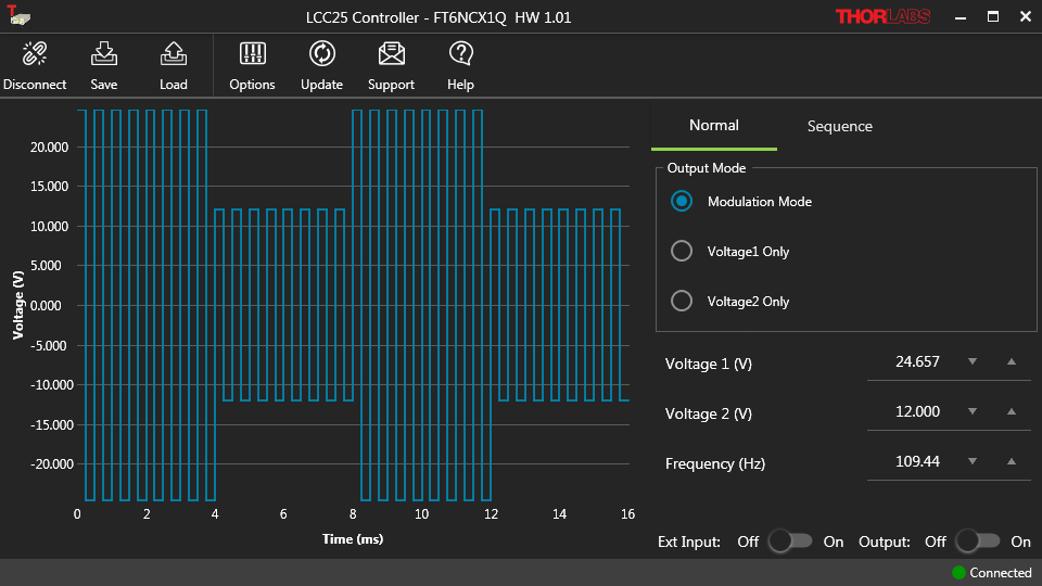 Screenshot of the LCC25 Software