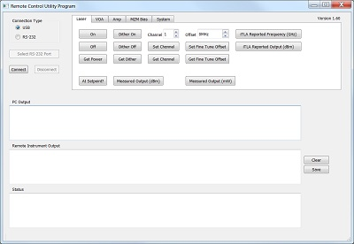 Screen Capture of the TLX Laser Remote Control Tool Software V1.6