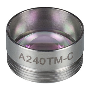 A240TM-C - f = 8.00 mm, NA = 0.5, Mounted Aspheric Lens, ARC: 1050 - 1620 nm