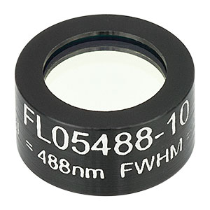 FL05488-10 - Ø1/2in Laser Line Filter, CWL = 488 ± 2 nm, FWHM = 10 ± 2 nm