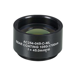 AC254-045-C-ML - f=45 mm, Ø1in Achromatic Doublet, SM1-Threaded Mount, ARC: 1050-1700 nm
