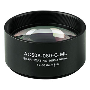 AC508-080-C-ML - f=80 mm, Ø2in Achromatic Doublet, SM2-Threaded Mount, ARC: 1050-1700 nm