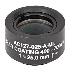 AC127-025-A-ML - f=25 mm, Ø1/2in Achromatic Doublet, SM05-Threaded Mount, ARC: 400-700 nm