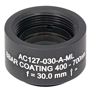 AC127-030-A-ML - f=30 mm, Ø1/2in Achromatic Doublet, SM05-Threaded Mount, ARC: 400-700 nm
