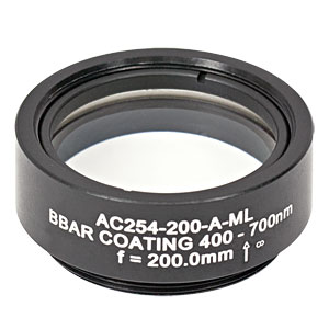AC254-200-A-ML - f=200 mm, Ø1in Achromatic Doublet, SM1-Threaded Mount, ARC: 400-700 nm
