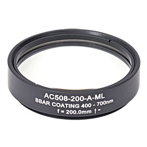 AC508-200-A-ML - f=200 mm, Ø2in Achromatic Doublet, SM2-Threaded Mount, ARC: 400-700 nm