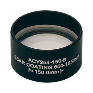 ACY254-150-B - f = 150.0 mm, Ø1in Cylindrical Achromat, AR Coating: 650 - 1050 nm
