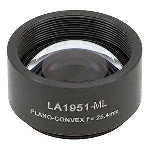 LA1951-ML - Ø1in N-BK7 Plano-Convex Lens, SM1-Threaded Mount, f = 25.4 mm, Uncoated