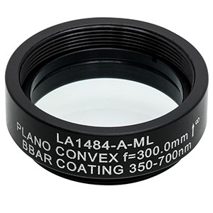 LA1484-A-ML - Ø1in N-BK7 Plano-Convex Lens, SM1-Threaded Mount, f = 300 mm, ARC: 350-700 nm
