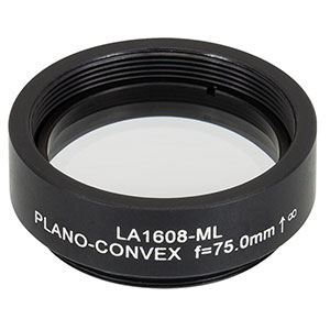LA1608-ML - Ø1in N-BK7 Plano-Convex Lens, SM1-Threaded Mount, f = 75 mm, Uncoated