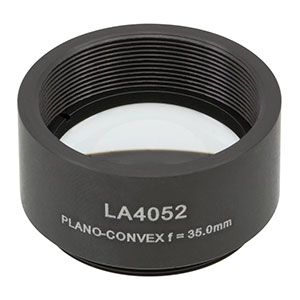 LA4052-ML -  Ø1in UVFS Plano-Convex Lens, SM1-Threaded Mount, f = 35.0 mm, Uncoated