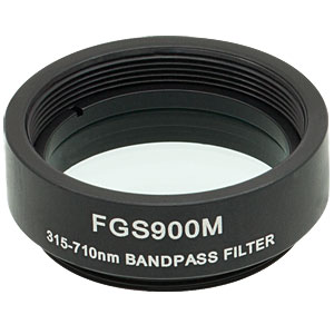 FGS900M - Ø25 mm KG3 Colored Glass Bandpass Filter, SM1-Threaded Mount