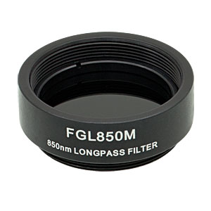 FGL850M - Ø25 mm SM1-Mounted Colored Glass Filter, 850 nm Longpass