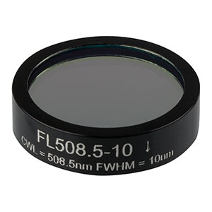 FL508.5-10 - Ø1in Laser Line Filter, CWL = 508.5 ± 2 nm, FWHM = 10 ± 2 nm