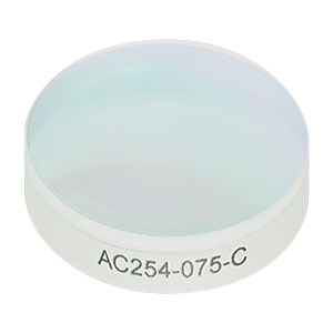 AC254-075-C - f = 75.0 mm, Ø1in Achromatic Doublet, ARC: 1050 - 1700 nm