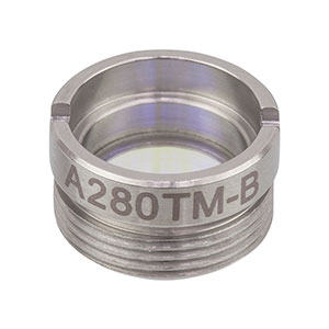 A280TM-B - f = 18.4 mm, NA = 0.15, Mounted Rochester Aspheric Lens, AR: 650 - 1050 nm
