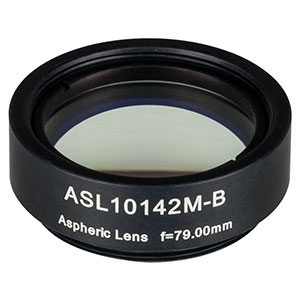 ASL10142M-B - Ø1in Aspheric Lens, SM1 Mounted, f = 79.0 mm, NA = 0.143, AR Coated: 650 - 1050 nm