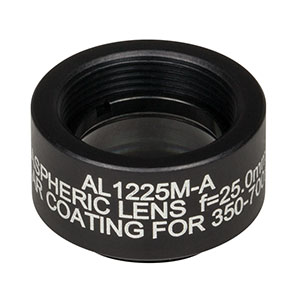AL1225M-A - Ø12.5 mm N-BK7 Mounted Aspheric Lens, f=25 mm, NA=0.23, ARC: 350-700 nm