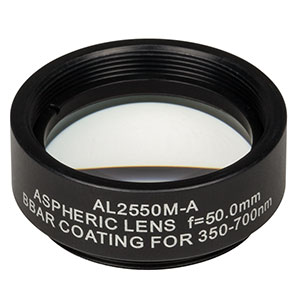 AL2550M-A - Ø25 mm N-BK7 Mounted Aspheric Lens, f=50 mm, NA=0.23, ARC: 350-700 nm