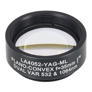 LA4052-YAG-ML - Ø1in UVFS Plano-Convex Lens, SM1-Threaded Mount, f = 35.0 mm, 532/1064 nm V-Coat