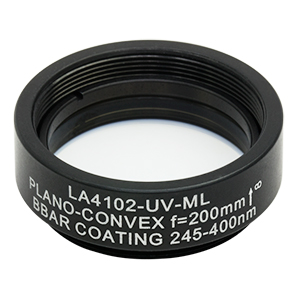 LA4102-UV-ML - Ø1in UVFS Plano-Convex Lens, SM1-Threaded Mount, f = 200.0 mm, ARC: 245-400 nm